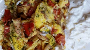 An omelette created with the ingredients pictured at the beginning of the article. Delicious!!!!